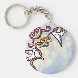 Wedding ring doves keychains