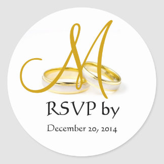 Wedding Ring Monogram RSVP Stickers Gold