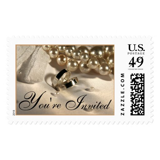 Wedding Ring Pillow And Pearls Postage Stamp