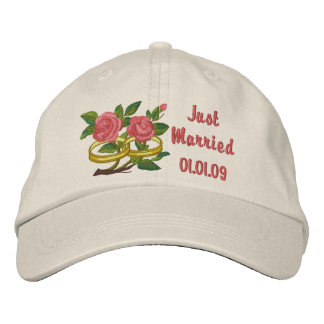Wedding Ring Roses - Just Married Embroidered Baseball Cap