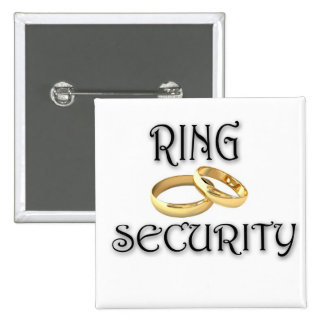 "Wedding ""RING SECURITY"" 2 Inch Square Button"