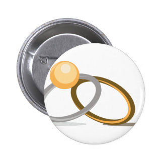 Wedding Rings 2 Inch Round Button