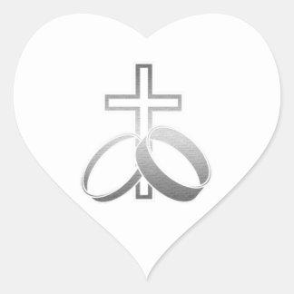 Wedding Rings and Cross Art Heart Sticker
