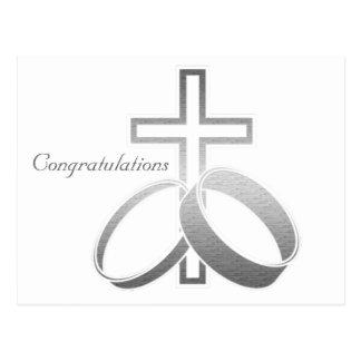 Wedding Rings and Cross Art Postcard