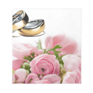 Wedding rings and pink roses composition design memo note pad
