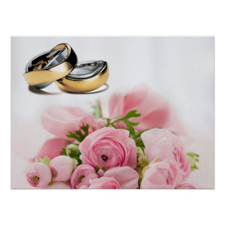 Wedding rings and pink roses composition design posters
