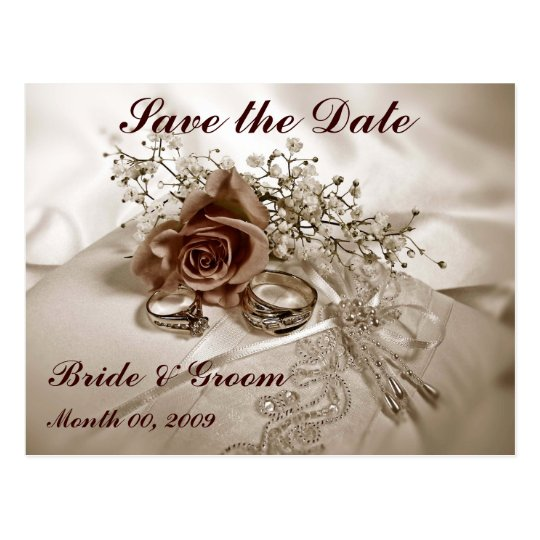 Wedding Rings and Roses Save the Date Postcards