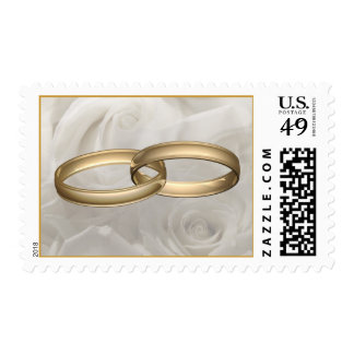 Wedding Rings and White Roses Postage