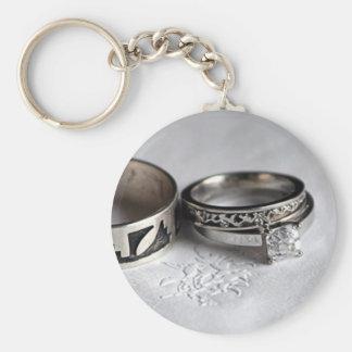Wedding Rings Basic Round Button Keychain