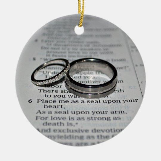 Wedding Rings Bible Verse Ornament Zazzle Com