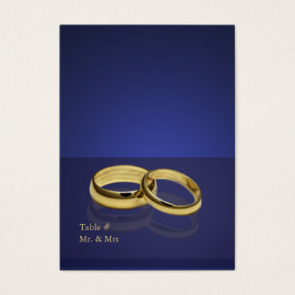 Wedding Rings Blue Place Setting Cards