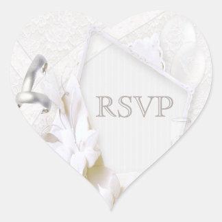 Wedding Rings & Champagne Glasses RSVP Heart Sticker