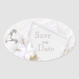 Wedding Rings & Champagne Glasses Save The Date Oval Sticker