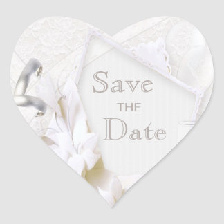 Wedding Rings & Champagne Glasses Save The Date Heart Sticker