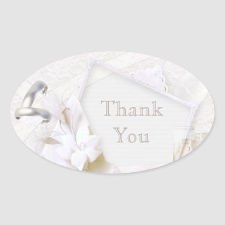 Wedding Rings & Champagne Glasses Thank You Oval Sticker