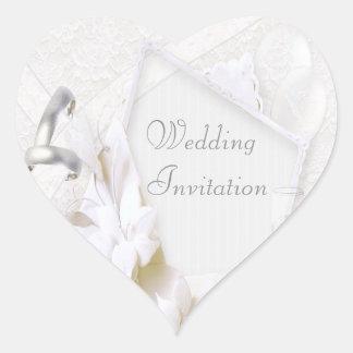 Wedding Rings & Champagne Glasses Wedding Invite Heart Sticker