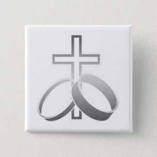 Wedding Rings & Cross for Wedding and Anniversarys Button