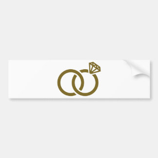 Wedding rings diamond bumper sticker