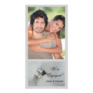 Wedding Rings Engagement Announcement Photo Card