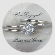 Wedding Rings Engagement Envelope Seals Round Stickers