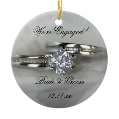 Wedding Rings Engagement Round Ornament by loraseverson