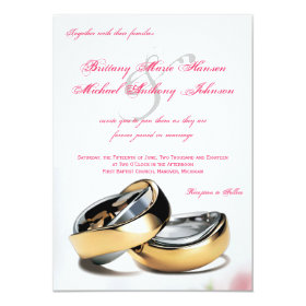 Wedding Rings Gold and Silver Wedding Invitation 4.5