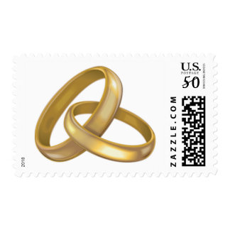 Wedding Rings Gold Bands RSVP Invite Save Date Postage