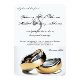 Wedding Rings Gold & Silver Wedding Invitation 4.5