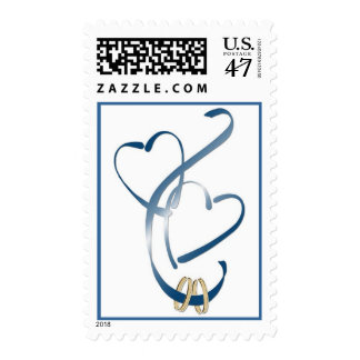 Wedding rings & hearts postage