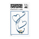 Wedding rings & hearts postage