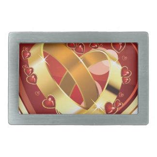 Wedding rings in heart rectangular belt buckle