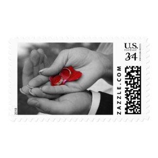 Wedding Rings Invitation Red Petals Stamp