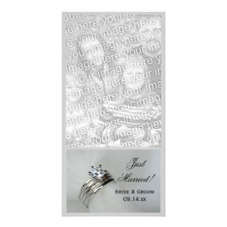 Wedding Rings Just Married Photo Card