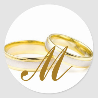 Wedding Rings Monogram M Invitation Seal