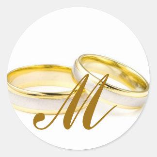 Wedding Rings Monogram M Invitation Seal Classic Round Sticker