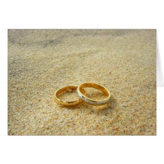 Wedding Rings on beach blank card template