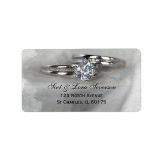 Wedding Rings on Gray Address Label