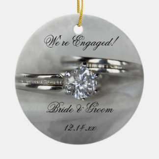 Wedding Rings on Gray Engagement Ceramic Ornament