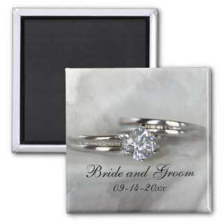 Wedding Rings on Gray 2 Inch Square Magnet