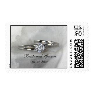 Wedding Rings on Gray Postage