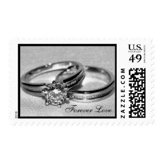 Wedding Rings on Gray Postage Stamp