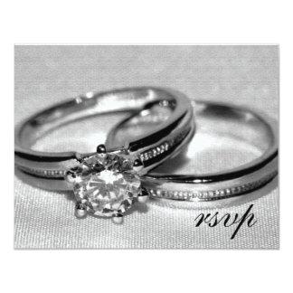 Wedding Rings on Gray RSVP Card
