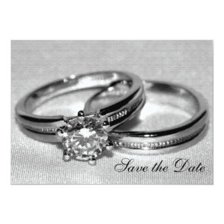 Wedding Rings on Gray Save the Date 5x7 Paper Invitation Card