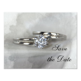 Wedding Rings on Gray Save the Date 4.25x5.5 Paper Invitation Card