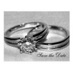 Wedding Rings on Gray Save the Date Postcard