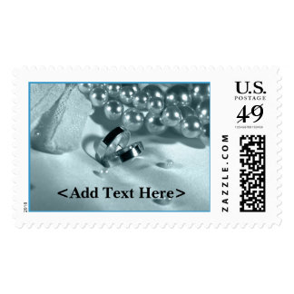 Wedding Rings On Pillow With Pearls Postage Stamp