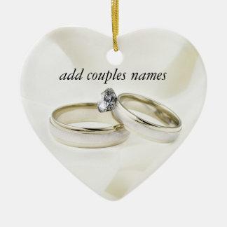 Wedding Rings on Satin Ceramic Ornament