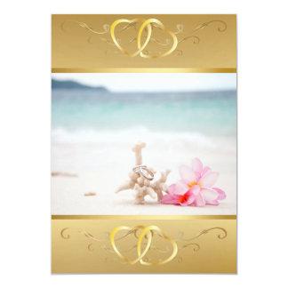 Wedding Rings On The Beach Invitation3 Card