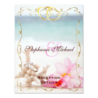Wedding Rings On The Beach Reception Card