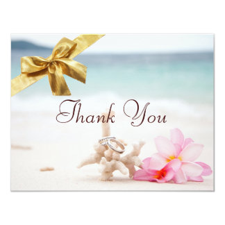 Wedding Rings On The Beach Thank You Card2 Card